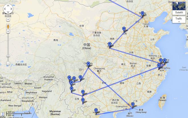 Rutten genom Kina, dragen luftvägen. All transport skedde landvägen, främst med tåg men också buss.