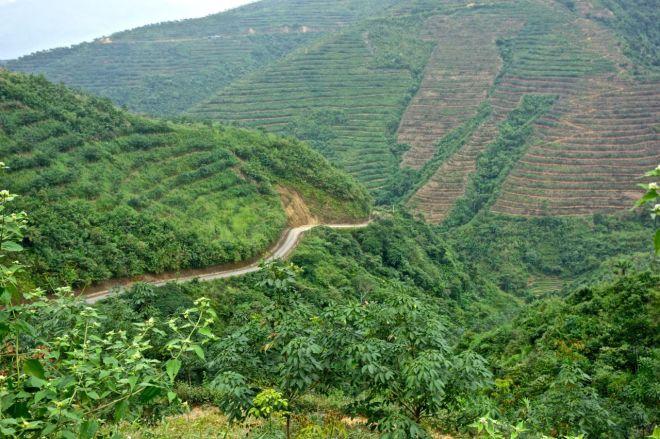 En väg vid sidan av ett berg.