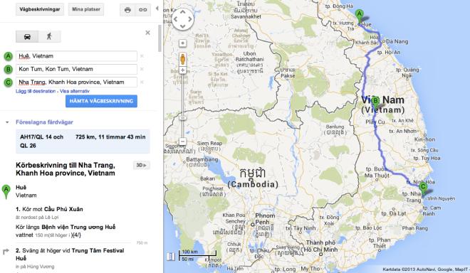 Rutten vi tänker ta söderut är 10 mil längre, men inlandsvägen (Ho Chi Minh-vägen) är betydligt bättre än motorvägen. Vår förhoppning är att slippa all tung trafik och susa fram bland byar på höglandet.