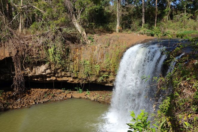 Ett klassiskt vattenfall i en klassisk skog