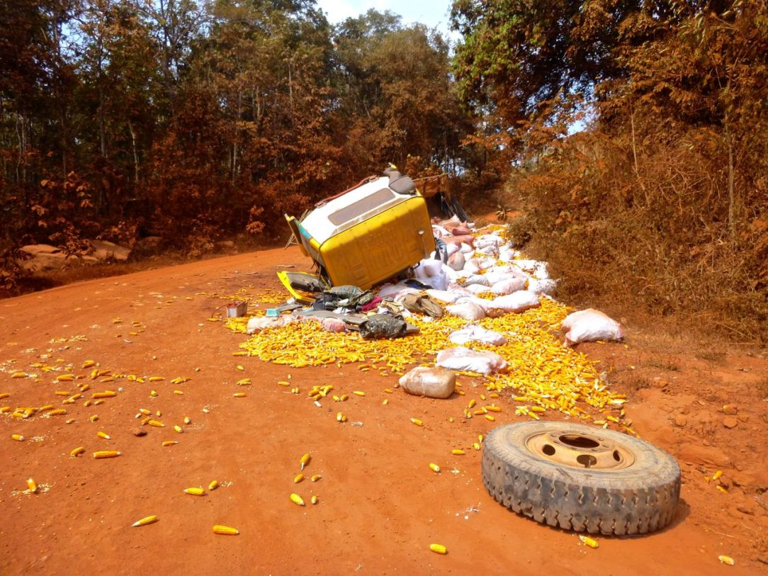 Vad som skulle kunna ha varit en påse popcorn var en hel last med torkade majskolvar.