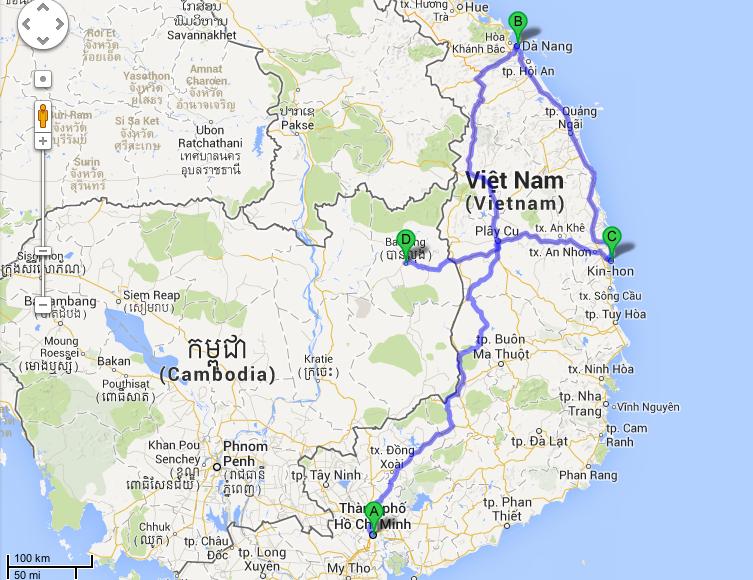 Resrutten de kommande två, tre veckorna. De första 900 kilometrarna till Danang ska vi köra på tre dagar. Jippie!