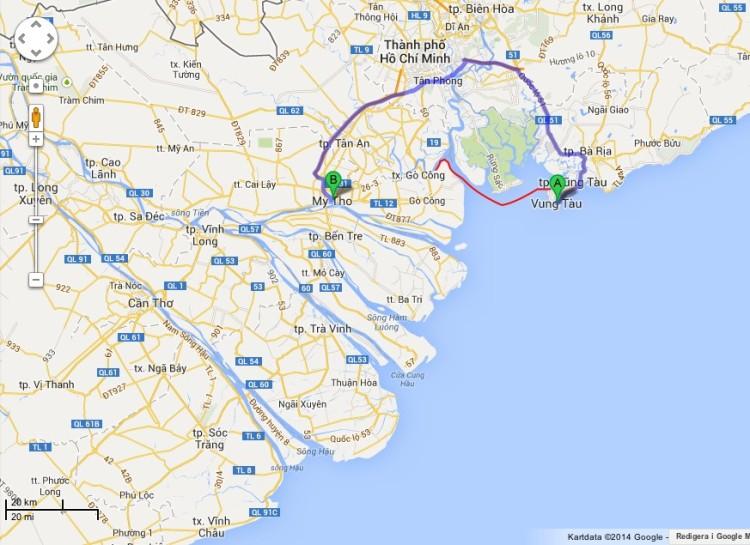 Blåa sträckan visar vad vi skulle ha fått kört, röda sträckan är båtturen. Den sparade oss en dags körning!