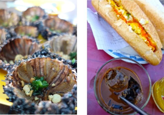 På Phu Quoc serverades sjöborrar (det luktade så vidrigt att jag var tvungen att skjuta bord dem). Äckligt, men färgglatt. Sedan den klassiska frukosten: kaffe och en banh my (serverad med en sida ur en av barnens gamla läxböcker, varför inte om servetterna är dyra)