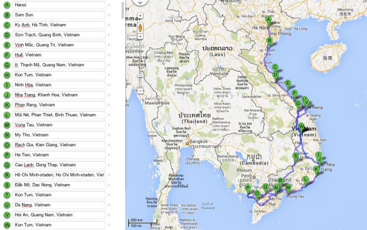 Översikt på fortsättningen genom Vietnam (norra loopen är inte med).