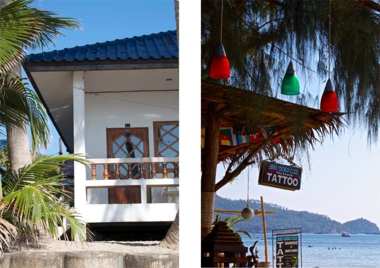 En bungalow direkt på stranden hade varit fantastiskt, men eftersom vi har varsin moppe tar vi oss vart vi vill när vi vill lekande lätt. Eftersom ön är så liten ligger ändå allt väldigt nära havet. Till och med tatueringsstudion.