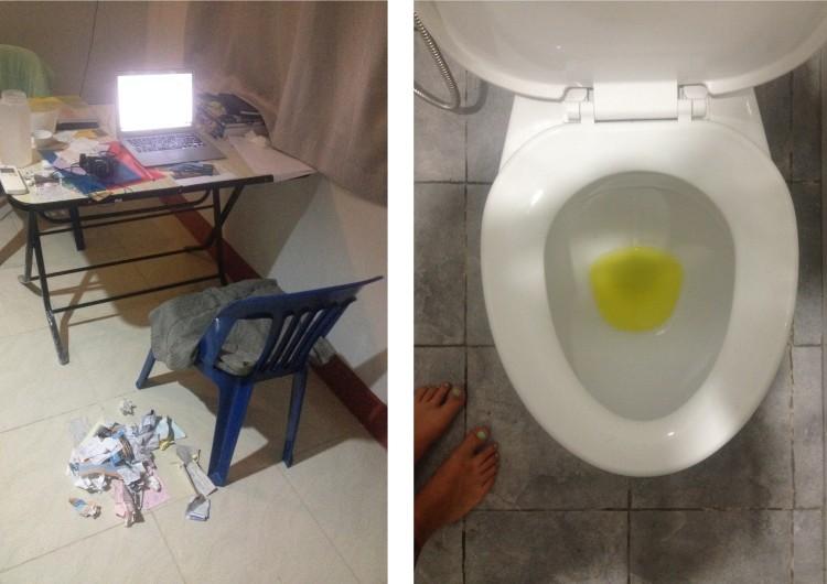 Mitt kontor en sen kväll när jag bokförde ikapp 2013. Ibland har jag sand mellan tårna och havsvatten i öronen, ibland sitter jag i mörkret på en ranglig plaststol och har papperskorgen på golvet. High life. OCH. Vätskeersättningen här ser ut som högkoncentrerat kiss. Hällde ut det sista ur en flaska i toaletten och blev rädd. Varför stoppa galna kissliknande färgämnen i vitaminer och mineraler? Eller är sodium gult? Potassium? Det finns i bananer har jag lärt mig av Aron Flam och bananer är ju gula.