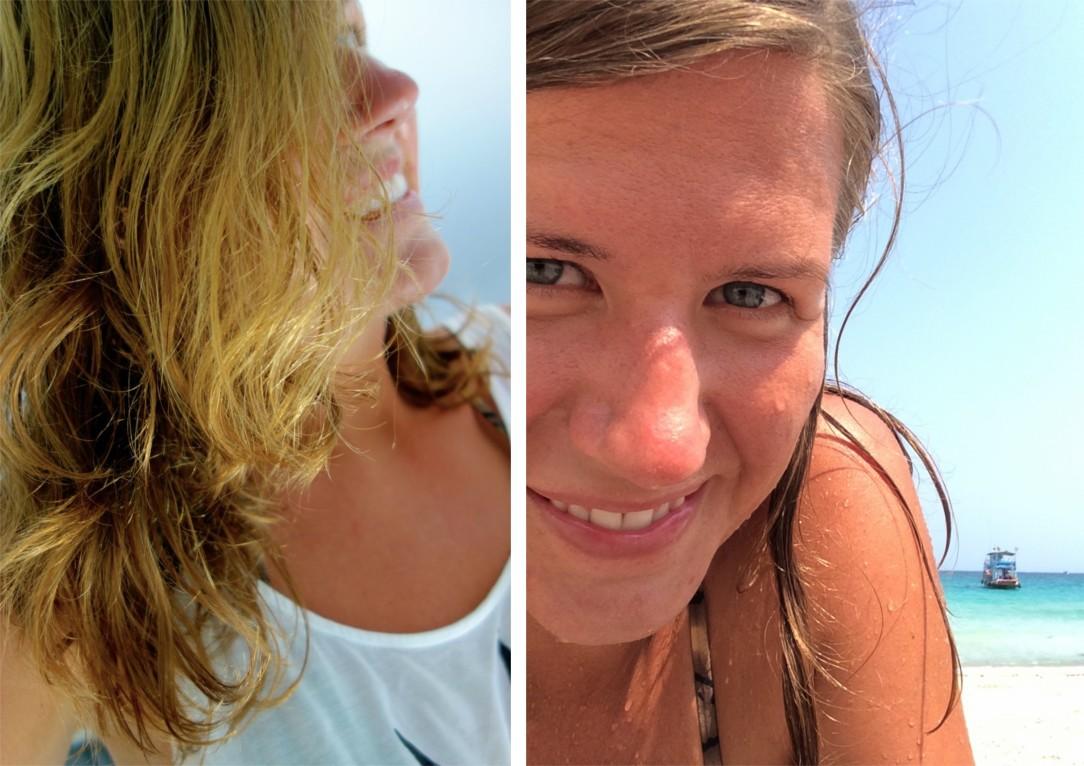 Torrt hår! Fast att jag badade alldeles nyss. Kunde ha utsläppt på stranden och låta det torka i vinden på moppen hem.