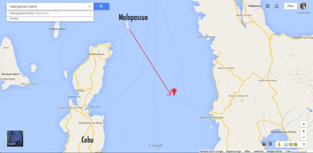 Calangaman Island är nästan två timmars båttur från Malapascua, vid bra väder. Det beror ju såklart på hur fort båten går ... Den lilla ön är väl värd en utflykt! Pass på att det kan vara fler som tänker samma sak. På helger kan det vara mycket folk på den privatägda ön.