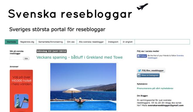 På Svenska resebloggar finns inte bara reseinspiration, utan också en feed full av blogginlägg från de registrerade bloggarna.