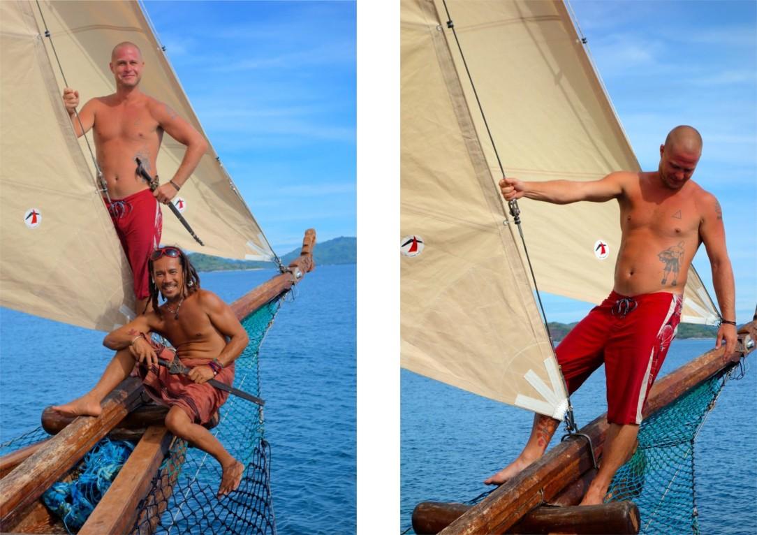 """O'HOY! Båtmästaren Gener och Mattias """"leker"""" pirater. Vi seglade under Jolly Roger och vinkade till kustbevakningen (de vinkade inte tillbaka)."""