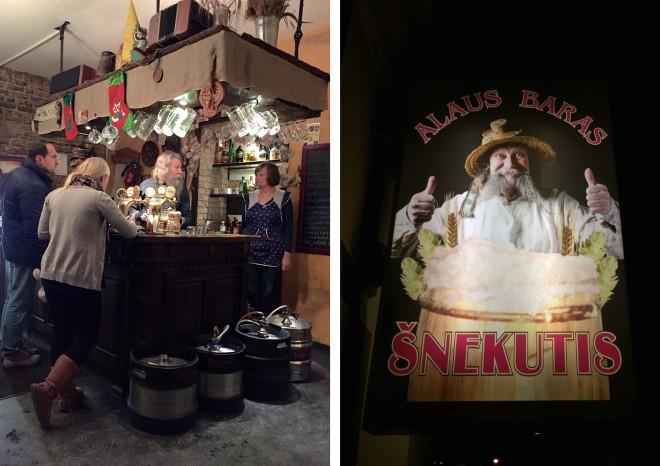 Kanske en av Vilnius mest genuina barer. Mannen på skylten står själv bakom baren! (Det finns en till bar med hans namn, men den är större – och lite mer hipp)
