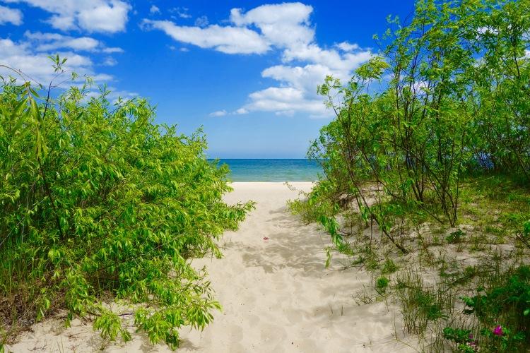Från den stenlagda strandpromenaden är det bokstavligt talat bara ett stenkast till sanden.